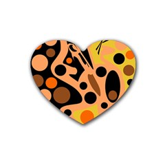 Orange Abstract Decor Heart Coaster (4 Pack)  by Valentinaart