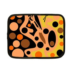 Orange Abstract Decor Netbook Case (small)  by Valentinaart