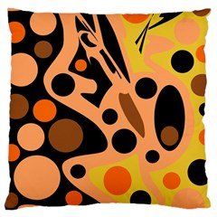 Orange Abstract Decor Large Cushion Case (two Sides) by Valentinaart