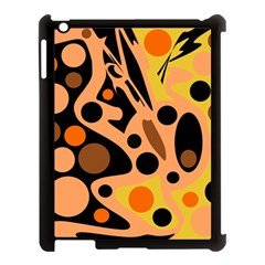 Orange Abstract Decor Apple Ipad 3/4 Case (black) by Valentinaart