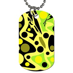 Green Abstract Art Dog Tag (two Sides) by Valentinaart