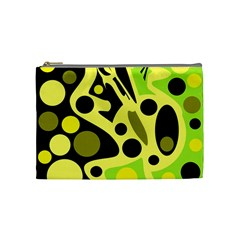 Green Abstract Art Cosmetic Bag (medium)  by Valentinaart