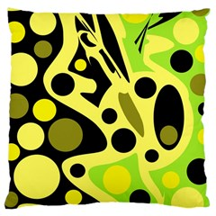 Green Abstract Art Large Cushion Case (two Sides) by Valentinaart