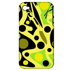 Green Abstract Art Apple Iphone 4/4s Hardshell Case (pc+silicone) by Valentinaart