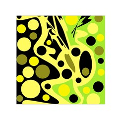 Green Abstract Art Small Satin Scarf (square) by Valentinaart
