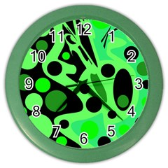Green abstract decor Color Wall Clocks by Valentinaart