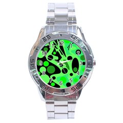 Green Abstract Decor Stainless Steel Analogue Watch by Valentinaart