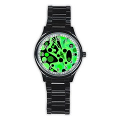 Green Abstract Decor Stainless Steel Round Watch by Valentinaart
