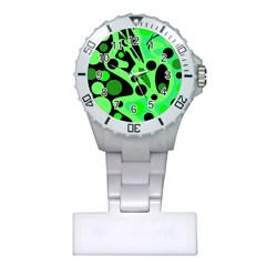 Green Abstract Decor Plastic Nurses Watch by Valentinaart