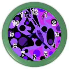 Purple Abstract Decor Color Wall Clocks by Valentinaart
