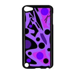 Purple Abstract Decor Apple Ipod Touch 5 Case (black) by Valentinaart