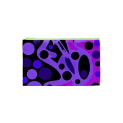 Purple Abstract Decor Cosmetic Bag (xs) by Valentinaart