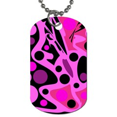 Pink Abstract Decor Dog Tag (two Sides) by Valentinaart