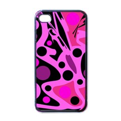 Pink Abstract Decor Apple Iphone 4 Case (black) by Valentinaart