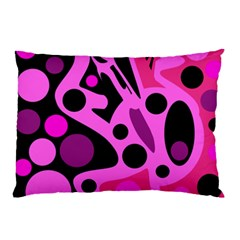 Pink Abstract Decor Pillow Case (two Sides) by Valentinaart