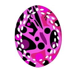 Pink Abstract Decor Oval Filigree Ornament (2 Side)  by Valentinaart