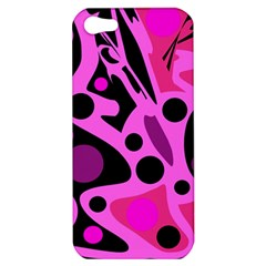 Pink Abstract Decor Apple Iphone 5 Hardshell Case by Valentinaart