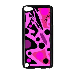 Pink Abstract Decor Apple Ipod Touch 5 Case (black) by Valentinaart