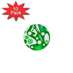 White And Green Decor 1  Mini Buttons (10 Pack)  by Valentinaart