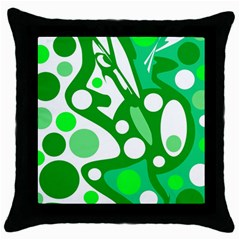 White And Green Decor Throw Pillow Case (black) by Valentinaart
