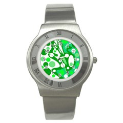 White And Green Decor Stainless Steel Watch by Valentinaart