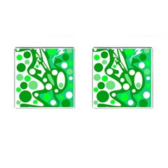 White And Green Decor Cufflinks (square) by Valentinaart