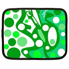 White And Green Decor Netbook Case (large) by Valentinaart
