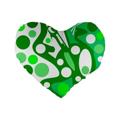 White And Green Decor Standard 16  Premium Flano Heart Shape Cushions by Valentinaart