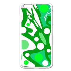 White And Green Decor Apple Iphone 6 Plus/6s Plus Enamel White Case by Valentinaart