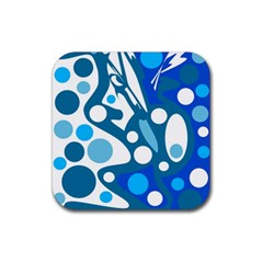 Blue And White Decor Rubber Coaster (square)  by Valentinaart