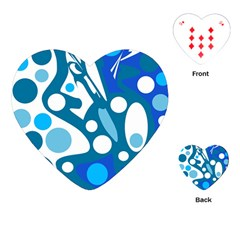 Blue And White Decor Playing Cards (heart)  by Valentinaart