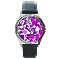 Purple And White Decor Round Metal Watch by Valentinaart