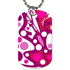 Magenta And White Decor Dog Tag (two Sides) by Valentinaart