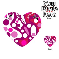 Magenta And White Decor Playing Cards 54 (heart)  by Valentinaart