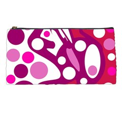 Magenta And White Decor Pencil Cases by Valentinaart