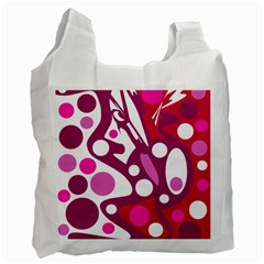 Magenta And White Decor Recycle Bag (one Side) by Valentinaart