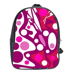 Magenta And White Decor School Bags(large)  by Valentinaart