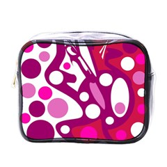 Magenta And White Decor Mini Toiletries Bags by Valentinaart