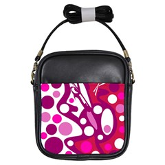 Magenta And White Decor Girls Sling Bags by Valentinaart