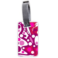 Magenta And White Decor Luggage Tags (one Side)  by Valentinaart
