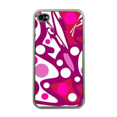 Magenta And White Decor Apple Iphone 4 Case (clear) by Valentinaart