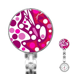 Magenta And White Decor Stainless Steel Nurses Watch by Valentinaart