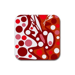 Red And White Decor Rubber Square Coaster (4 Pack)  by Valentinaart