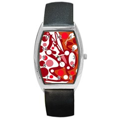 Red And White Decor Barrel Style Metal Watch by Valentinaart
