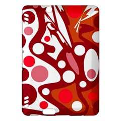 Red And White Decor Kindle Fire Hdx Hardshell Case by Valentinaart
