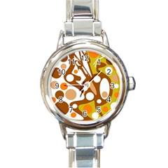 Orange And White Decor Round Italian Charm Watch by Valentinaart