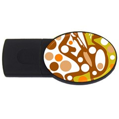 Orange And White Decor Usb Flash Drive Oval (2 Gb)  by Valentinaart