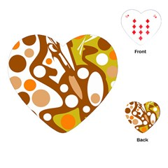 Orange and white decor Playing Cards (Heart)  by Valentinaart
