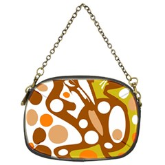Orange And White Decor Chain Purses (two Sides)  by Valentinaart