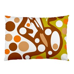Orange And White Decor Pillow Case (two Sides) by Valentinaart